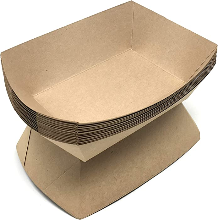 Mr. Miracle Kraft Paper Food Tray. 5-Pound Size. Pack of 100. Disposable, Recyclable and Fully Biodegradable. Made in USA