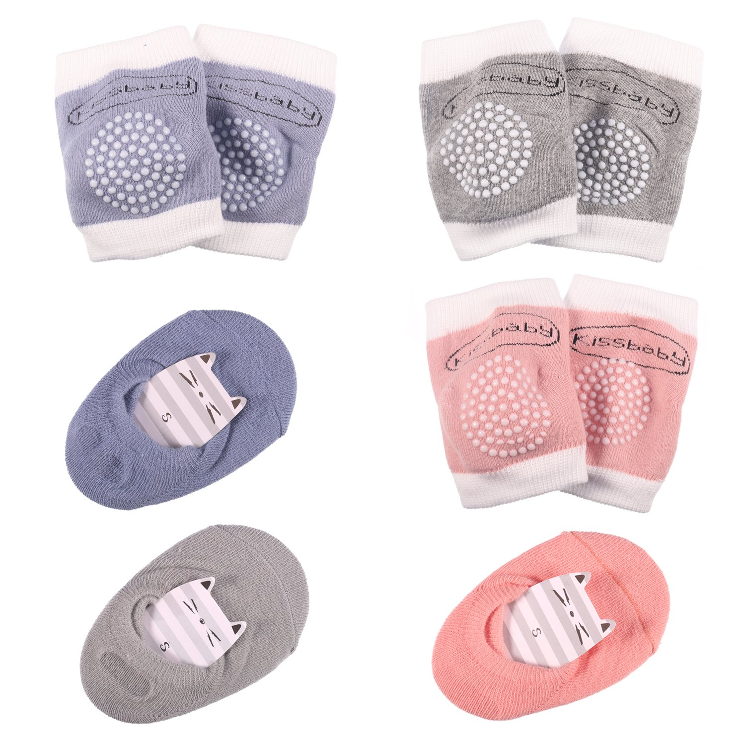 Hautoco Baby Knee Pads for Crawling Anti-Slip 3 Pairs with Baby Socks Unisex Anti-Slip Soft Cotton Breathable 3 Pairs
