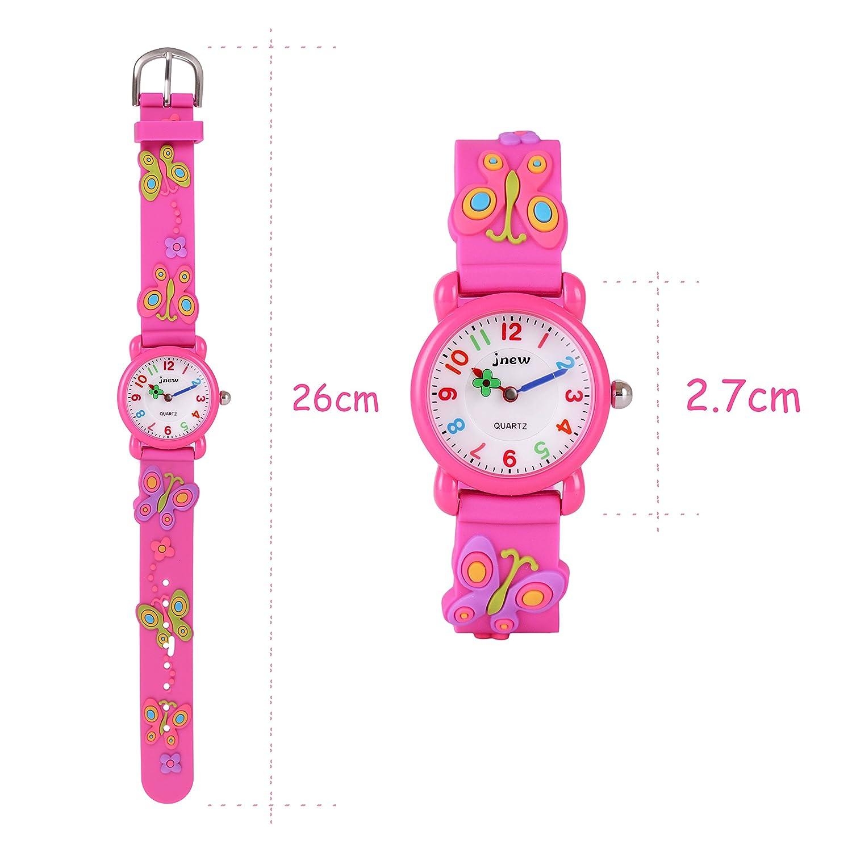 WOLFTEETH Starter Watch Niña Reloj analógico para niñas Reloj Resistente al Agua Día Escolar Reloj Deportivo al Aire Libre Mariposa Reloj de Pulsera Rose ...