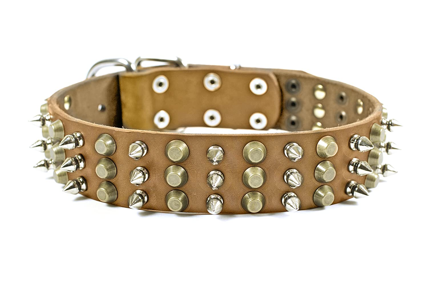 Dean and Tyler 3+3 , Leather Dog Collar with Heavy Nickel and Brass Hardware Tan Size 22-Inch by 1-3 4-Inch Fits Neck 20-Inch to 24-Inch