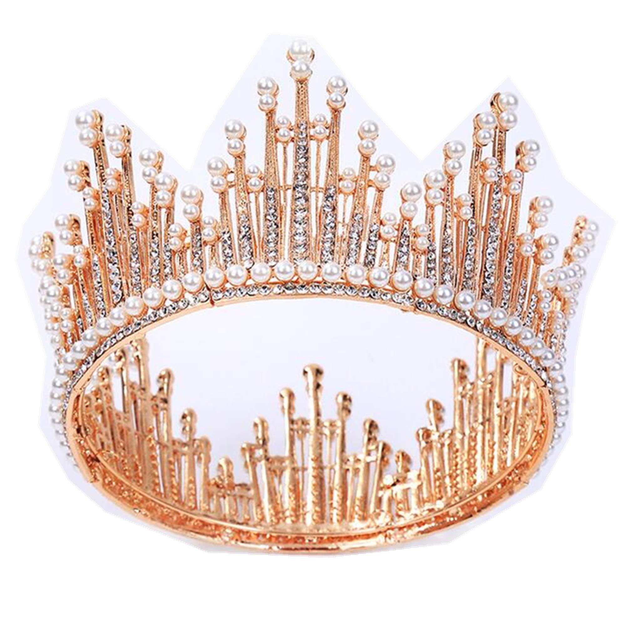 Wiipu Round Bridal Circle Faux Pearl Rhinestone Crown Tiara,5.9'' Diameter(A1351) (rose gold)