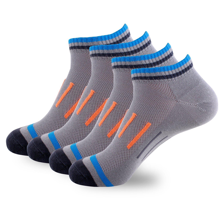 Men's Comfort Cool Vent Ankle Socks (Pack of 4)(Grey)
