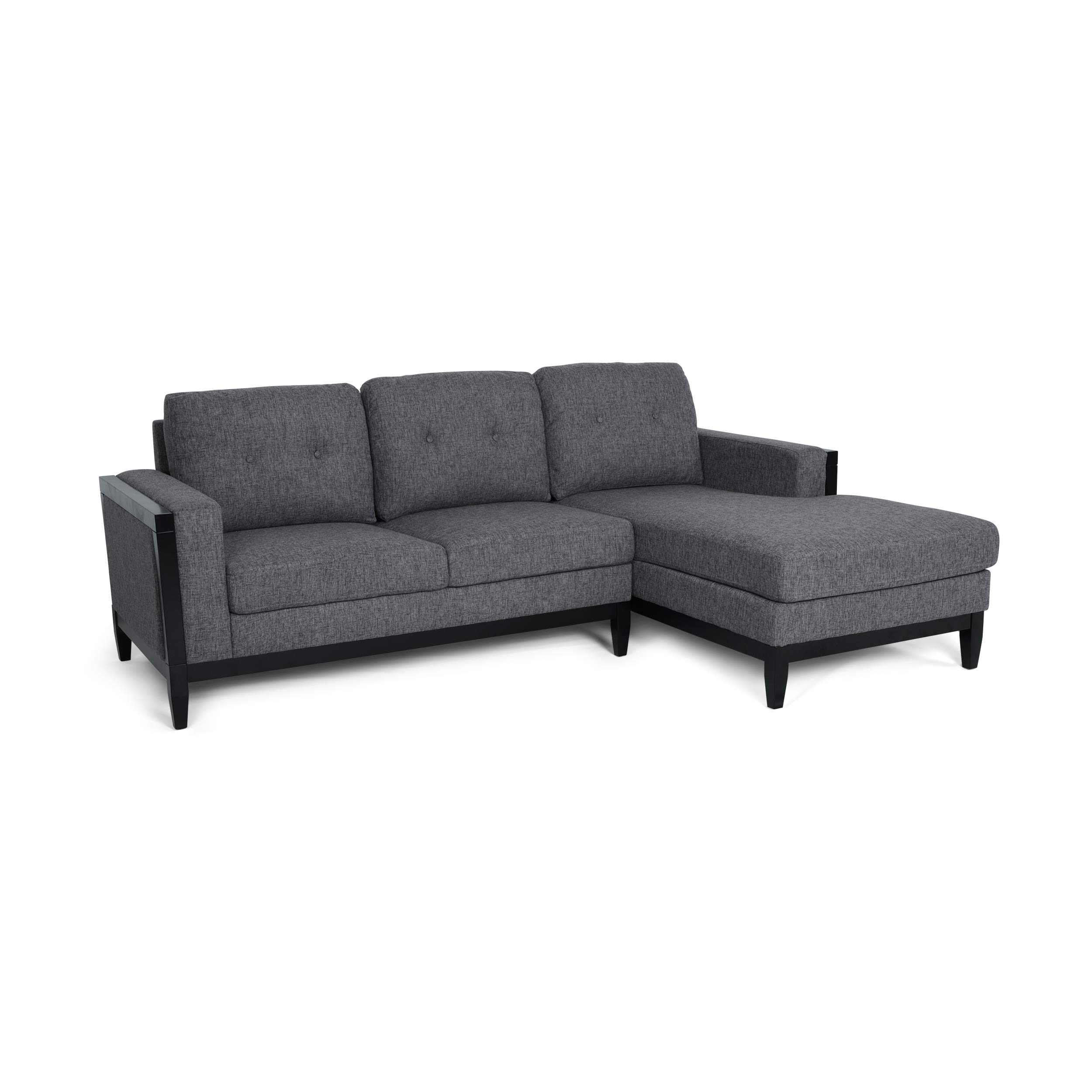 Joanna Mid Century Modern Fabric and Wood Chaise Sectional, Charcoal Tweed and Black by Great Deal Furniture