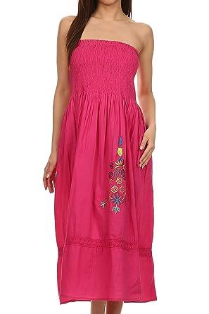 f5b9c9d2de5 Sakkas SMD3232 - Elsie Floral Embroidered Cotton Tube Top Dress - Fuchsia -  OS  Amazon.co.uk  Clothing