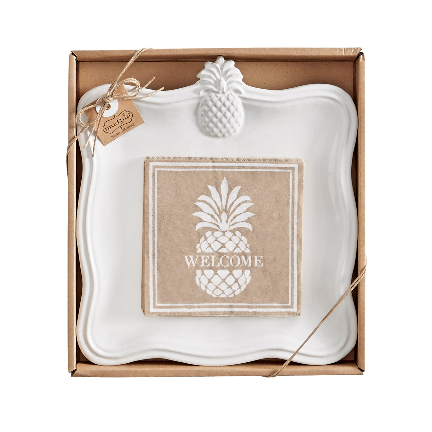 Mud Pie 4115022 Pineapple Cheese Serving Set, White