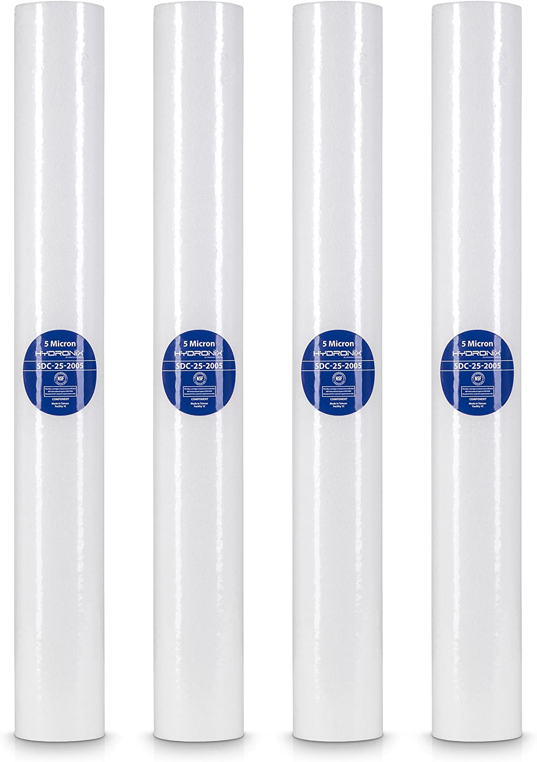 Hydronix SDC-25-2005//4 SDC-25-2005 4 pack sediment filters 2.5 x 20 2.5 x 20 white