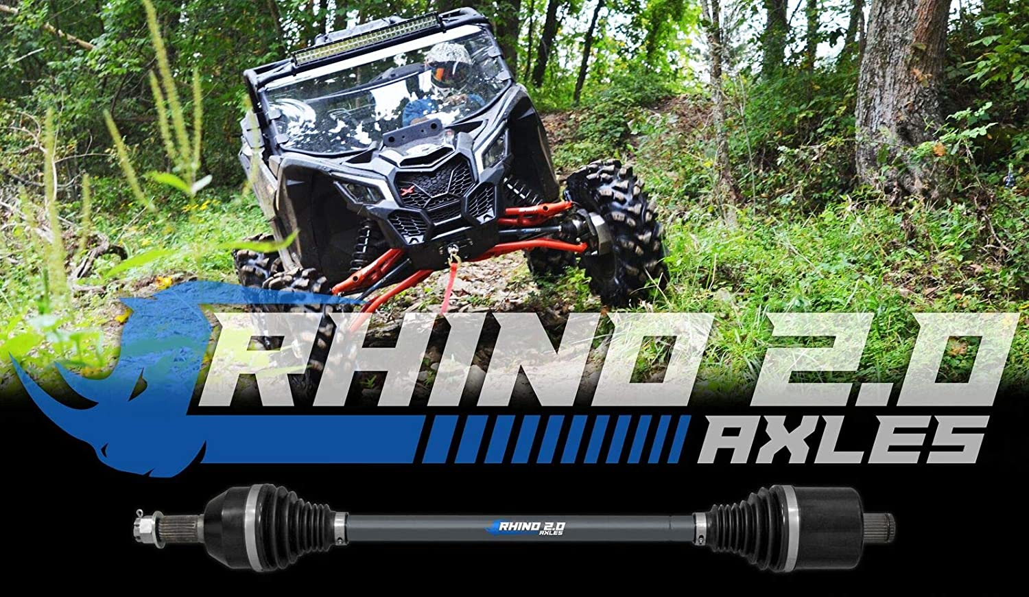 Stock Length 2X Stronger Than Stock! FRONT RIGHT SuperATV Heavy Duty Rhino 2.0 Axle for Can-Am Maverick Turbo//X DS//X RS//MAX
