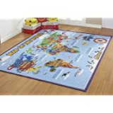 Smithsonian Rug World Map Learning Carpets Bedding Play Mat Classroom Decorations Blue Area Rugs 5x7, Cyan