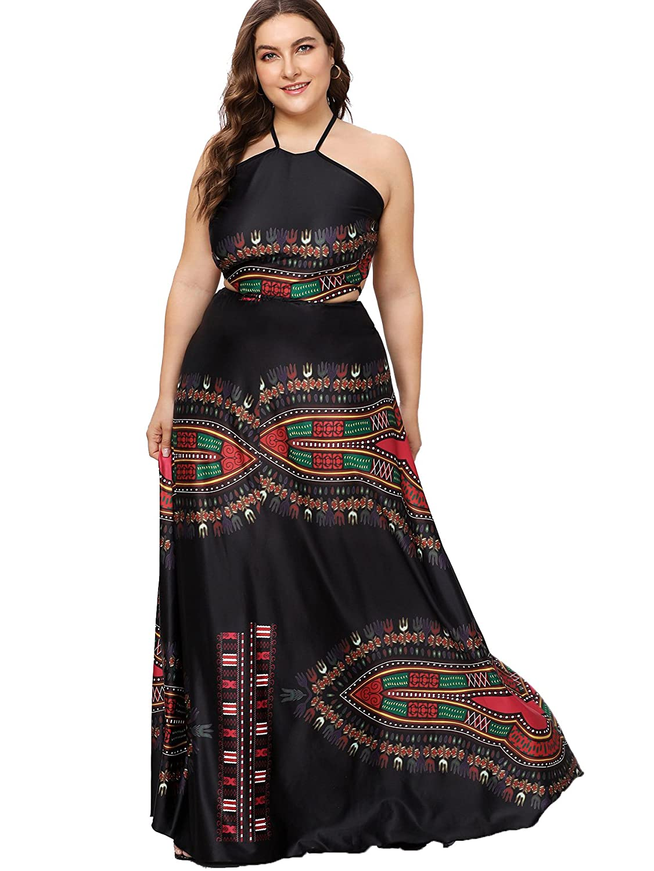 a42332035f Floerns Women's Plus Size Dresses Summer Sleeveless Halter Neck Party Long  Maxi Dress