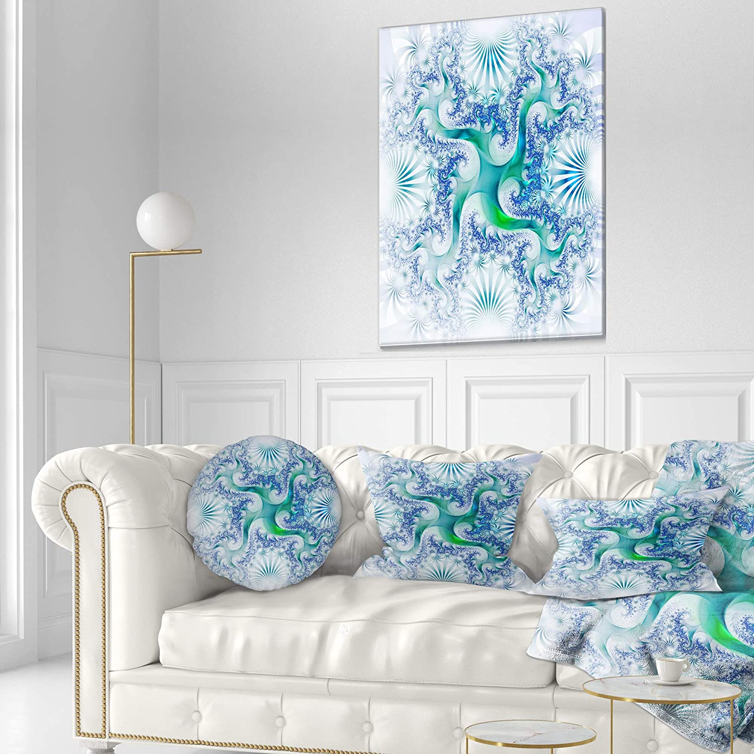 Insert Printed On Both Side Designart CU12095-12-20 Light Blue and Green Fractal Design Abstract Lumbar Cushion Cover for Living Room x 20 in 12 in Sofa Throw Pillow in