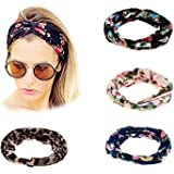 Ever Fairy® 4Pcs Women Floral Print Cotton Headbands for Sport or Daily Wear