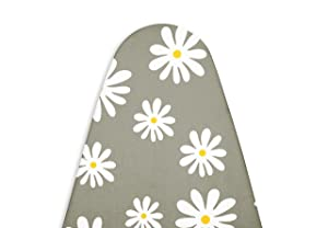Encasa Homes Replacement Ironing Board Cover with Thick Felt Pad, Drawstring Tightening, (Fits Standard Wide Boards of 18 x 49 inch) Heat Reflective, Scorch & Stain Resistant, Printed - Daisy Grey