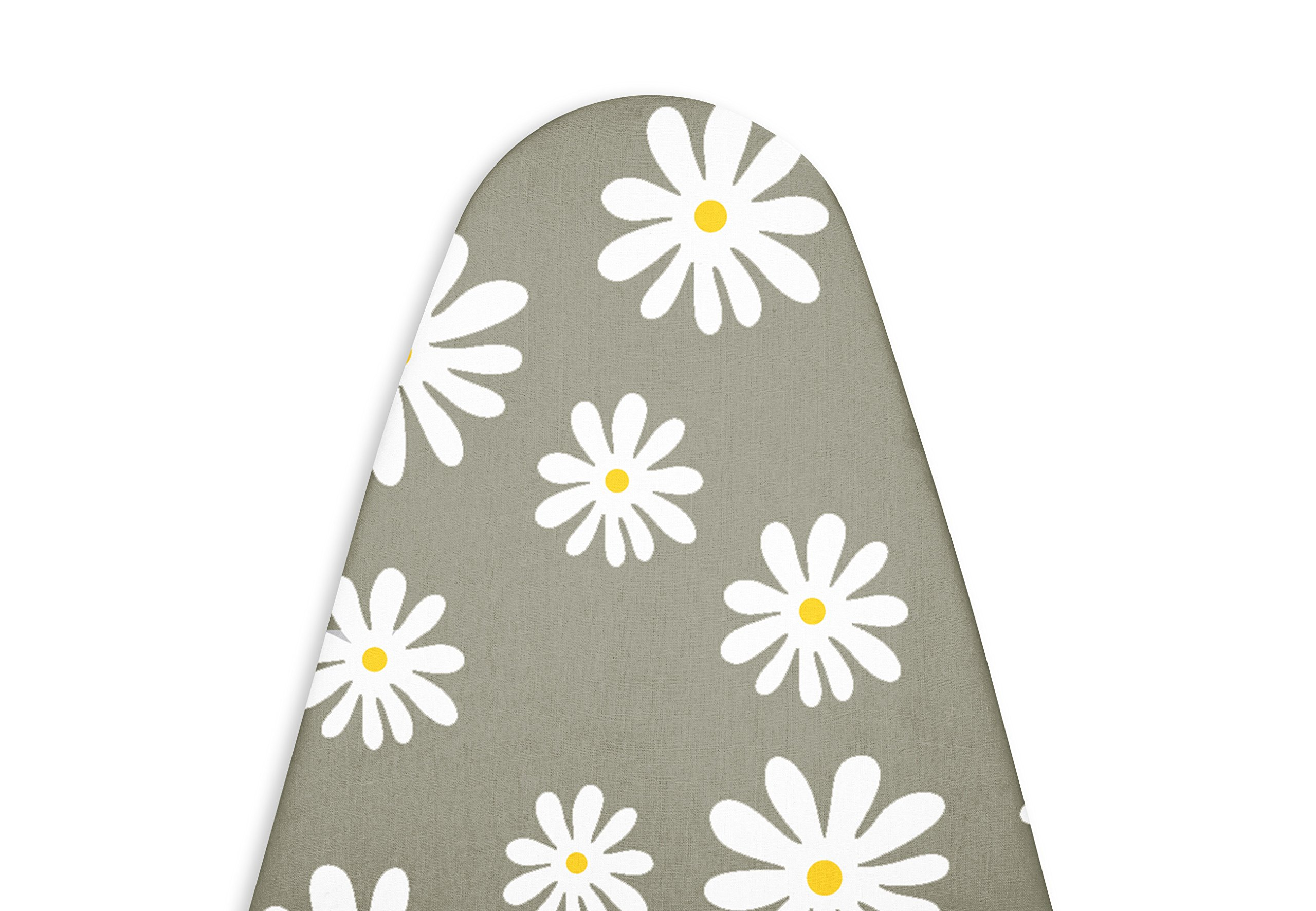 Encasa Homes Premium Ironing Board Cover with Thick Felt Pad (Fits Wide Boards 18''x49''), Daisy Grey