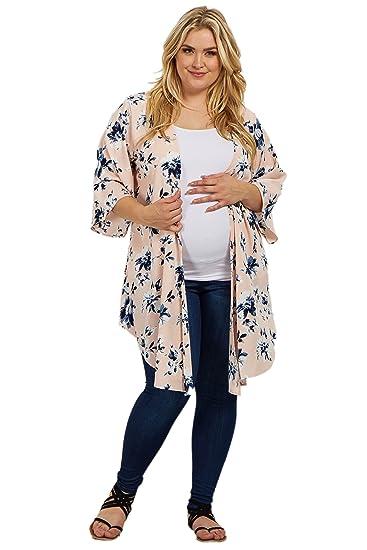 73c739eeb153 PinkBlush Maternity Floral Plus Long Kimono at Amazon Women's ...