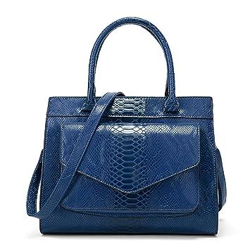 Bolsos De Las Señoras,Mango Moda Carteras Bolsas Crossbody para Mujer-Azul 30x14x25cm(