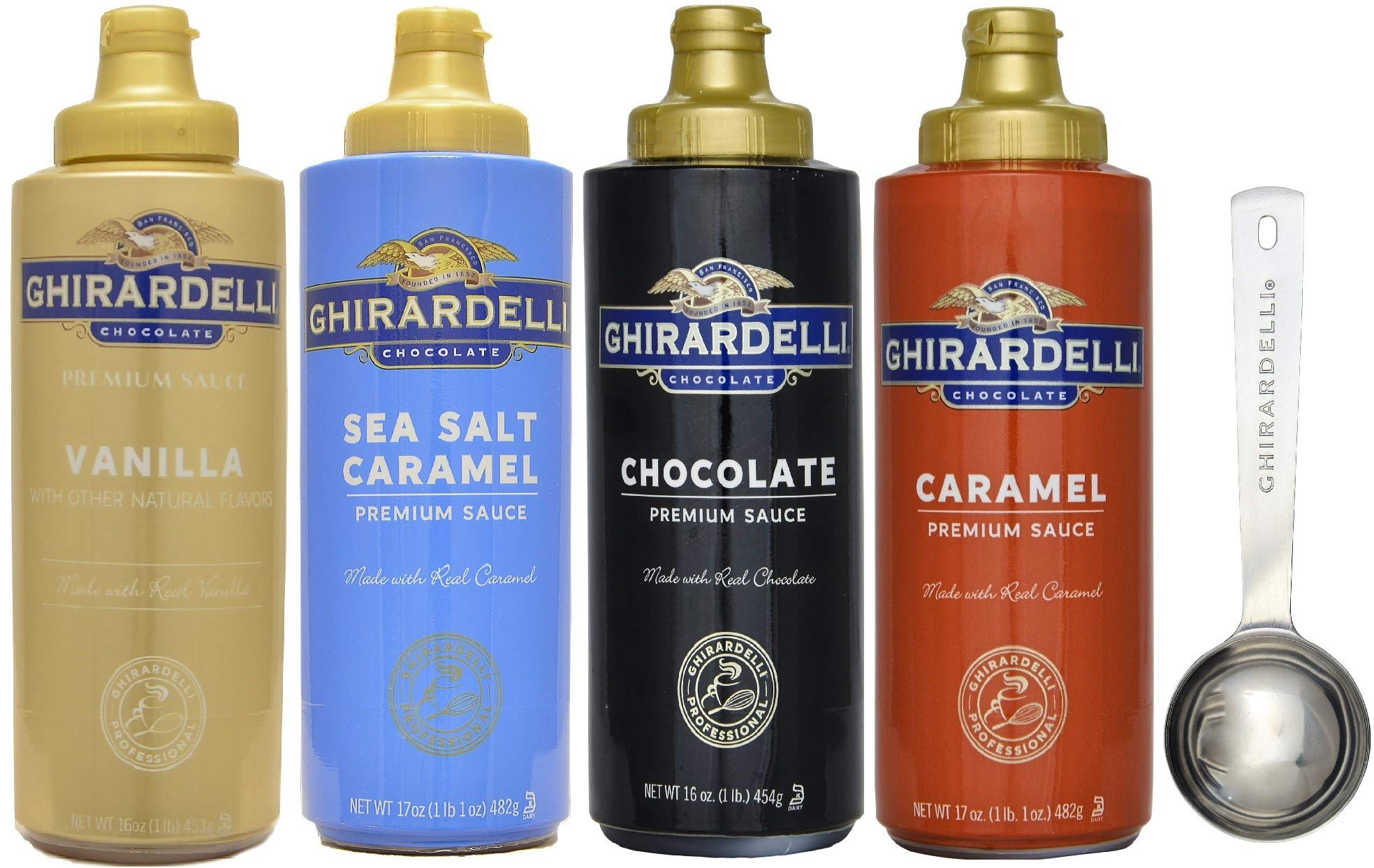Ghirardelli - 16 Ounce Black Label, 16 Ounce Vanilla, 17 Ounce Caramel, 17 Ounce Sea Salt Caramel Flavored Sauce (Set of 4) - with Limited Edition Measuring Spoon by Ghirardelli (Image #1)