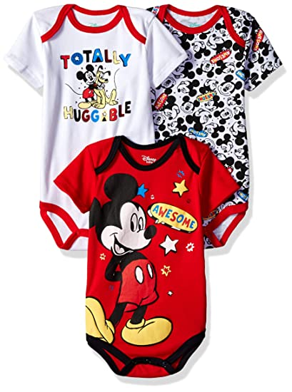 0165f8d97 Amazon.com: Disney Baby Boys' Mickey Mouse 3 Pack Bodysuits: Clothing