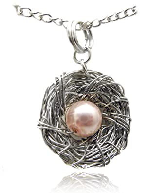 Amazon bird nest pendant necklace wire wrapped silver with 1 bird nest pendant necklace wire wrapped silver with 1 pale pink pearl egg unique handcrafted aloadofball Choice Image