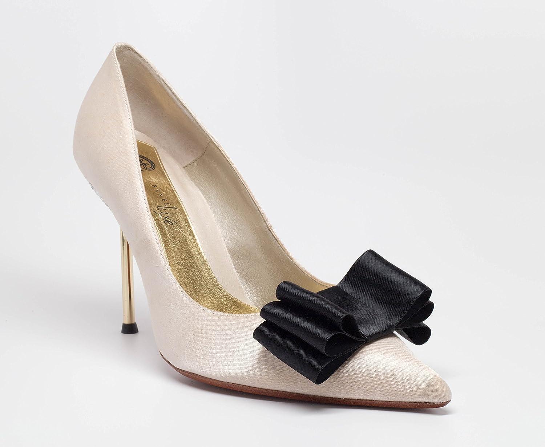 Black Gold Detachable Bow Shoe Clips Front Set of 2