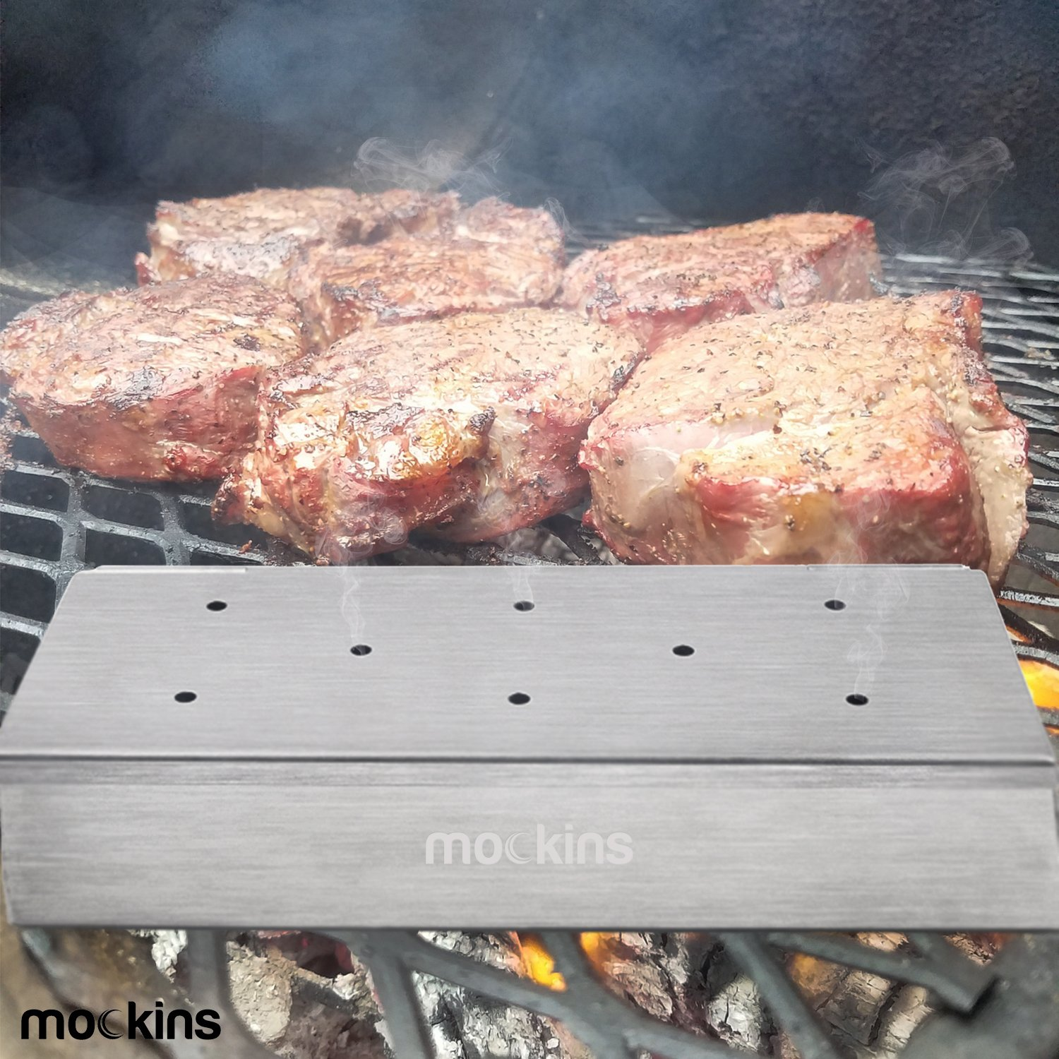 Mockins Even Thicker Stainless Steel BBQ Smoker Box for Grilling Barbecue Wood Chips On Gas Or Charcoal Grill … … by Mockins (Image #4)