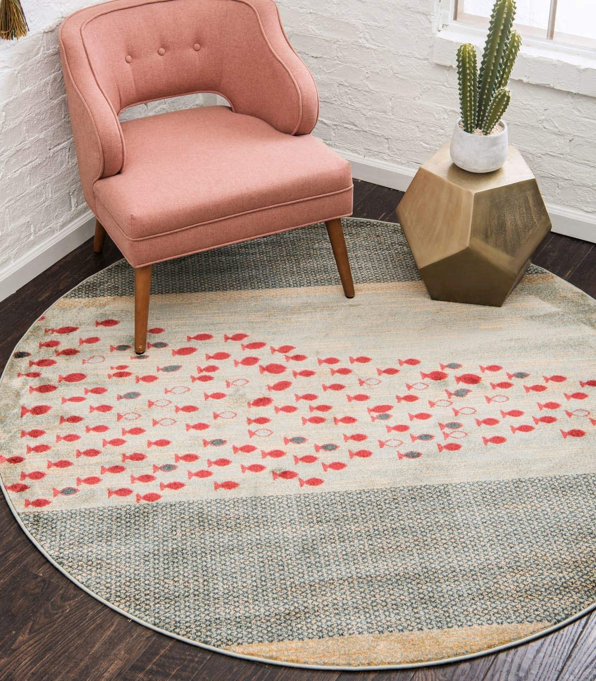 Unique Loom Fars Collection Tribal Modern Casual Blue Round Rug 6 0 x 6 0