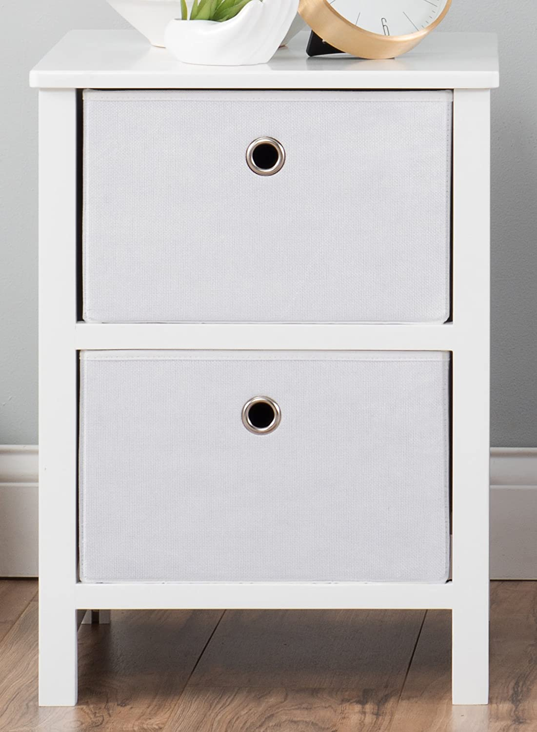 """EZ Home Solutions Foldable Furniture 2 Drawer Night Stand, 22"""" x 16"""" x 19"""", White"""