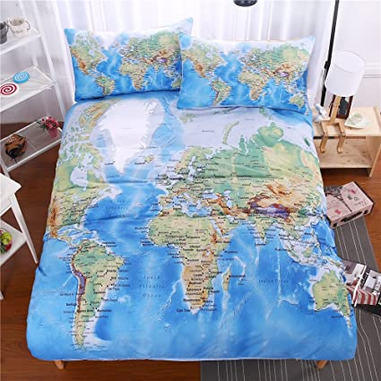Amazon.com: LELVA World Map Printed Duvet Cover Set with 2 Pillow ...