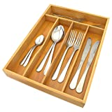 Top Home Solutions 5 Compartment Bamboo Wooden Cutlery Drawer Storage Organiser Tray