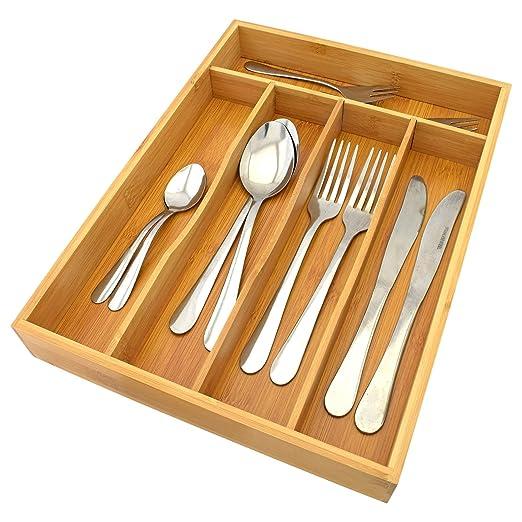 Grande 5 Compartimento Organizador de cajón de Cocina de ...