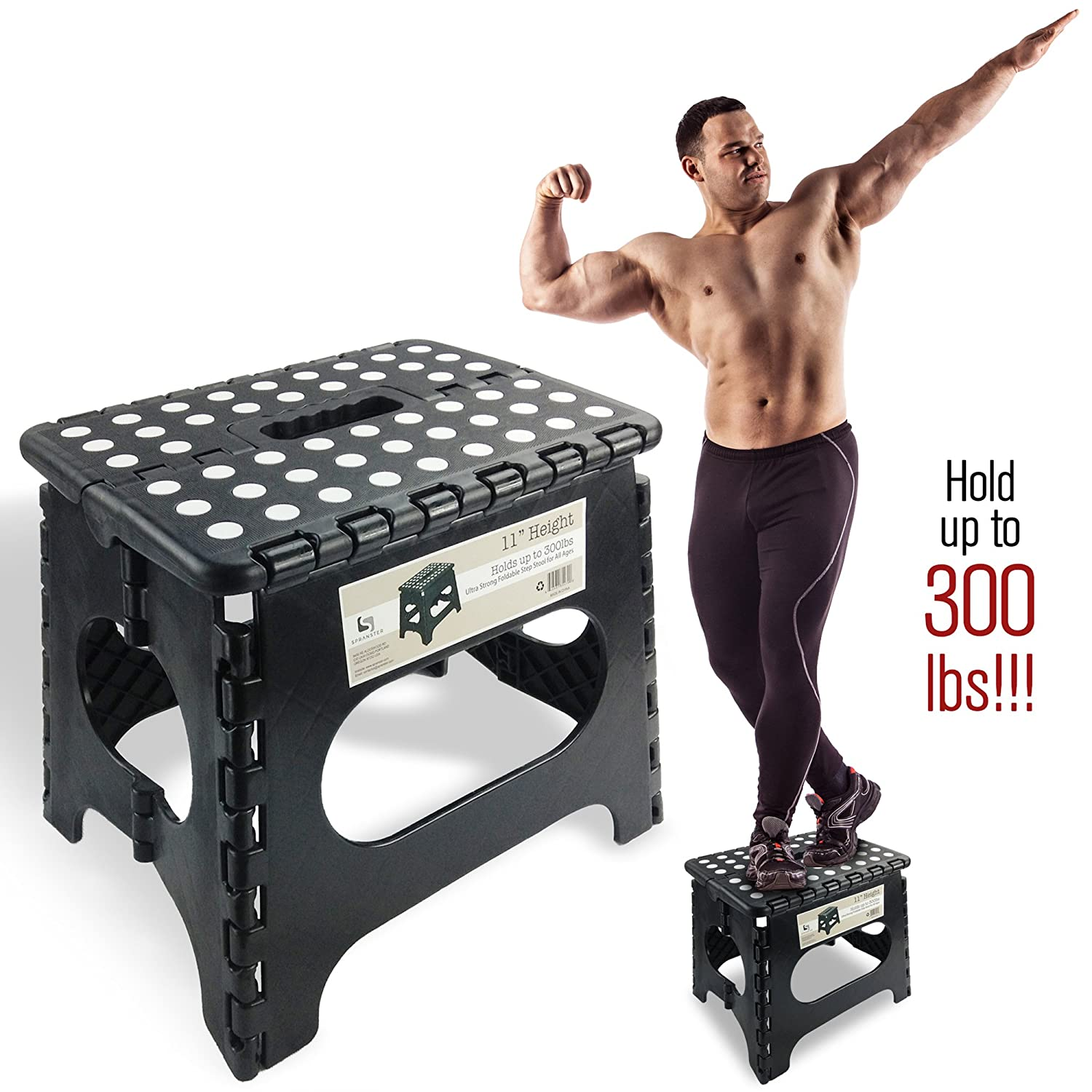 Amazon.com Super Strong Folding Step Stool - 11  Height - Holds up to 300 Lb - The lightweight foldable step stool is sturdy enough to support adults ...  sc 1 st  Amazon.com & Amazon.com: Super Strong Folding Step Stool - 11