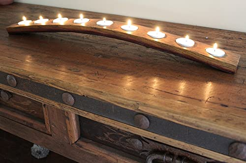 Napa Gift Store Wine Barrel 9 Candle Holder Made from Recycled Oak Wine Barrel Stave