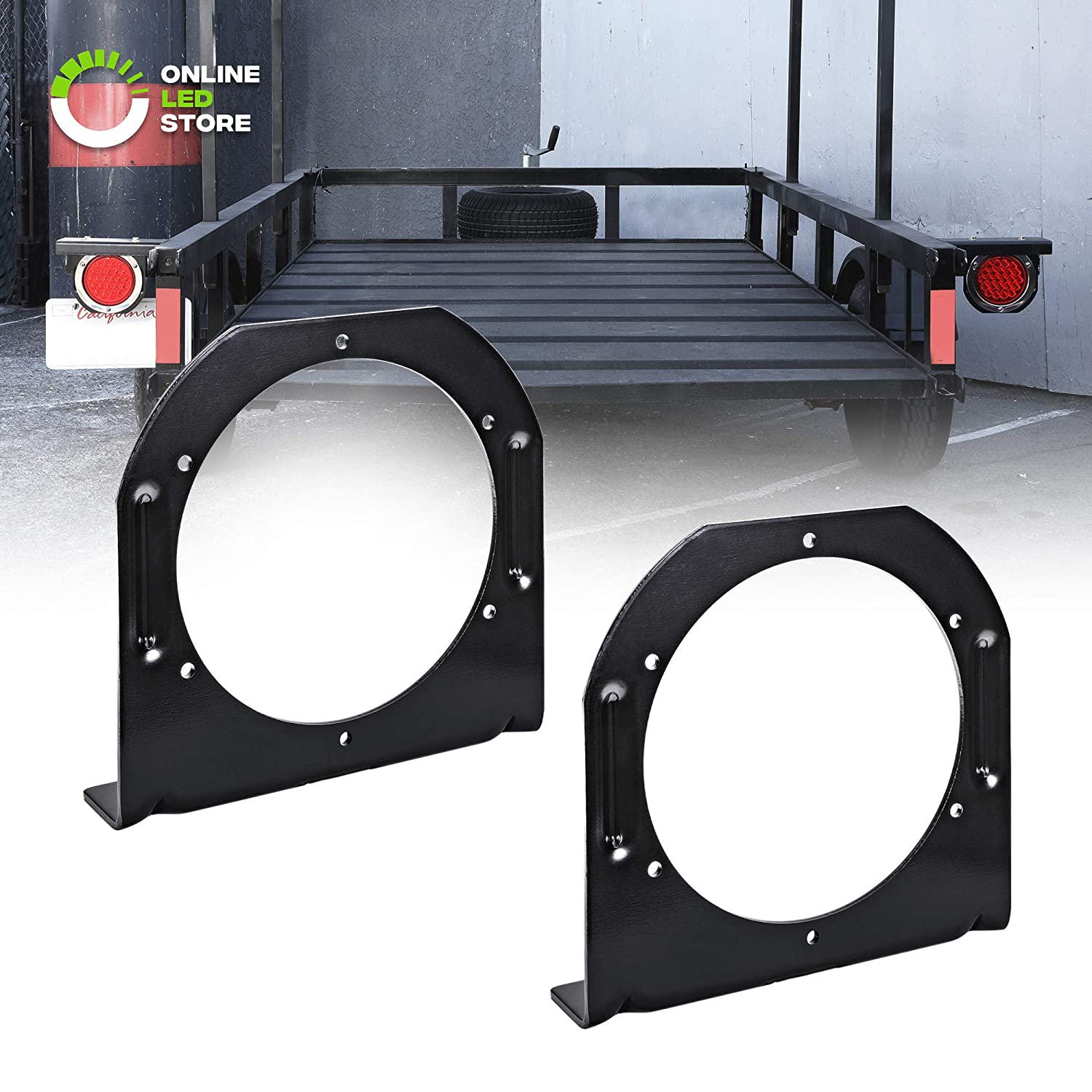 2pc 4 Round Tail Light L Shape Mounting Bracket Powder Coated Steel Fits Standard D.O.T 4 Round Tailights For Trailers Reinforced Notches 3mm Steel Vertical or Horizontal Mounting