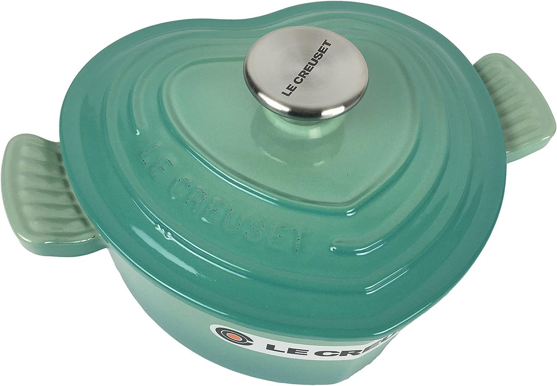 Le Creuset Enameled Cast Iron Heart Oven, 2 1/4 quart (Cool Mint)