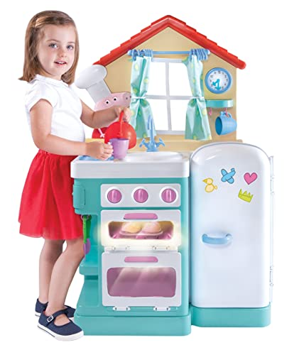Peppa's Little Kitchen - A Play kitchen featuring Peppa Pig where kids can cook up a storm with the sizzling frying pan, the whistling tea kettle and a faucet that makes water sounds. Includes 18 accessories. For kids age 2+ #peppapig #toysfortoddlers