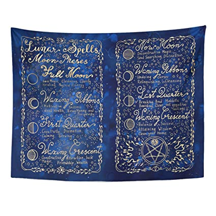 Amazon com: Emvency Tapestry Lunar Magic Spells on Blue Occult