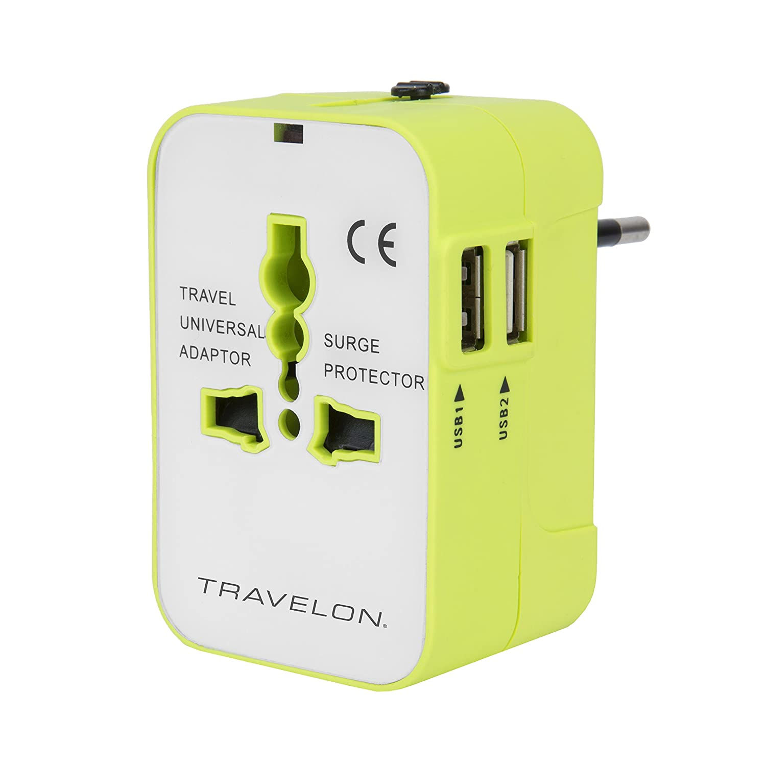 Travelon 13250 440 Worldwide Adapter with Dual USB Charger, Green, One Size TRBO3