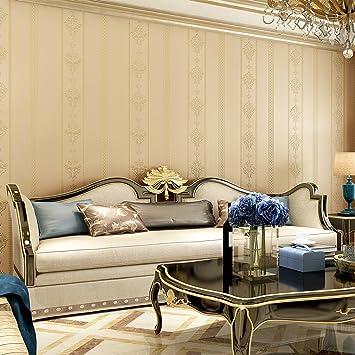 KINLO® Vliestapete Wand Dunkle Beige 10Mx53cm Top Tapete Barock Tapete  Muster Tapete Streifen Wanddeko für Wohnzimmer, Schlafzimmer, Büro  Wandtatoo ...