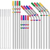Stainless Steel Straws Reusable Drinking Straws 16 Pack Drinking Straws Ecofriendly 10.5 Inch and 8.5 Inch Long Metal…