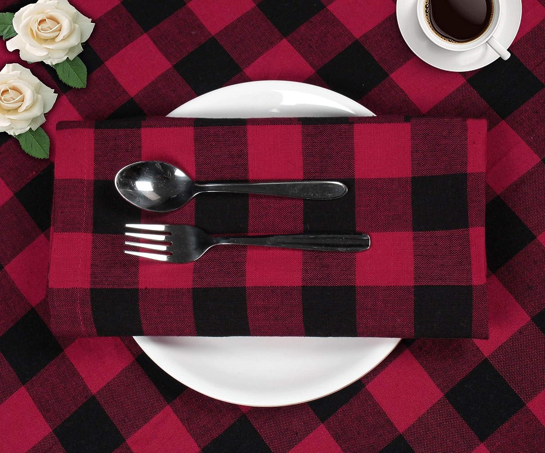 Calidad de Hotel Duradera para Eventos y Uso Dom/éstico Regular Negro Rojo Servilletas de 100/% Algod/ón Cuadros Clinica de algodon 12 Servilletas de Tela Vintage 50 x 50 cm