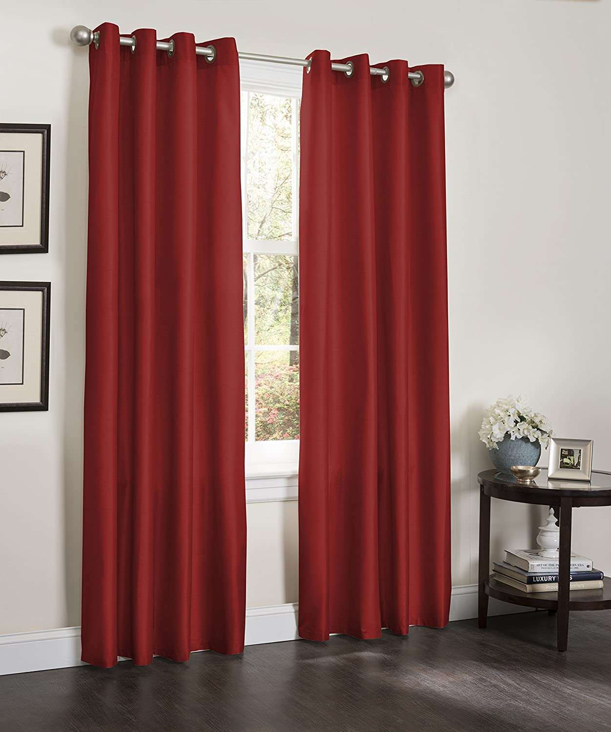 Red and cream window curtains - Amazon Com Blackout Window Curtain 55 X 84 Faux Silk Thermal Insulated Grommet Top Lined Heavy Thick Panel 1 Panel Black Home Kitchen