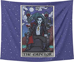 Dracula Halloween Tapestry The Emperor Tarot Card Wall Hanging Vampire Gothic Wall Art Goth Home Decor (80