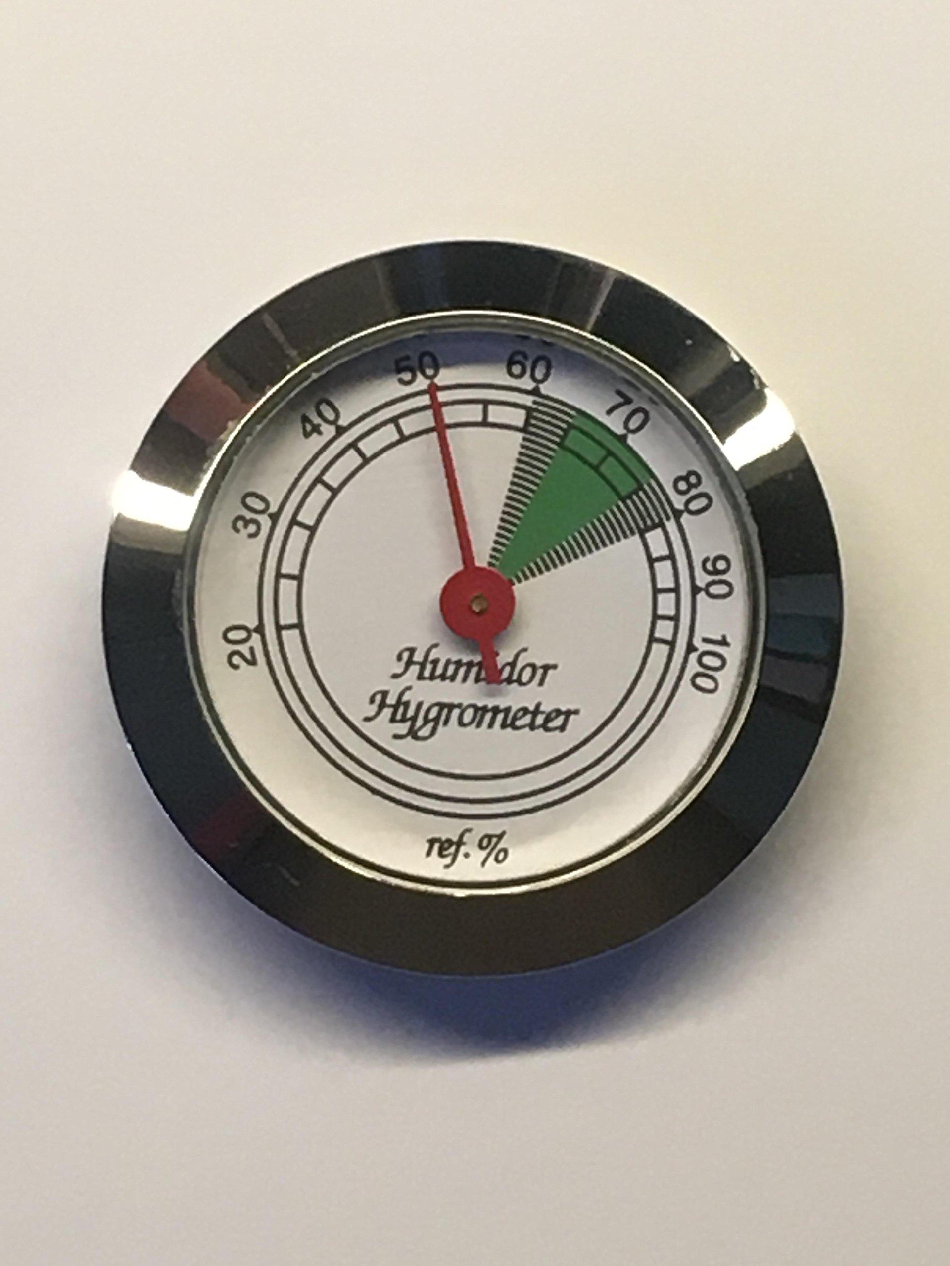 Silver Frame Hygrometer for Cigar Humidor 1 3/4'' Diameter