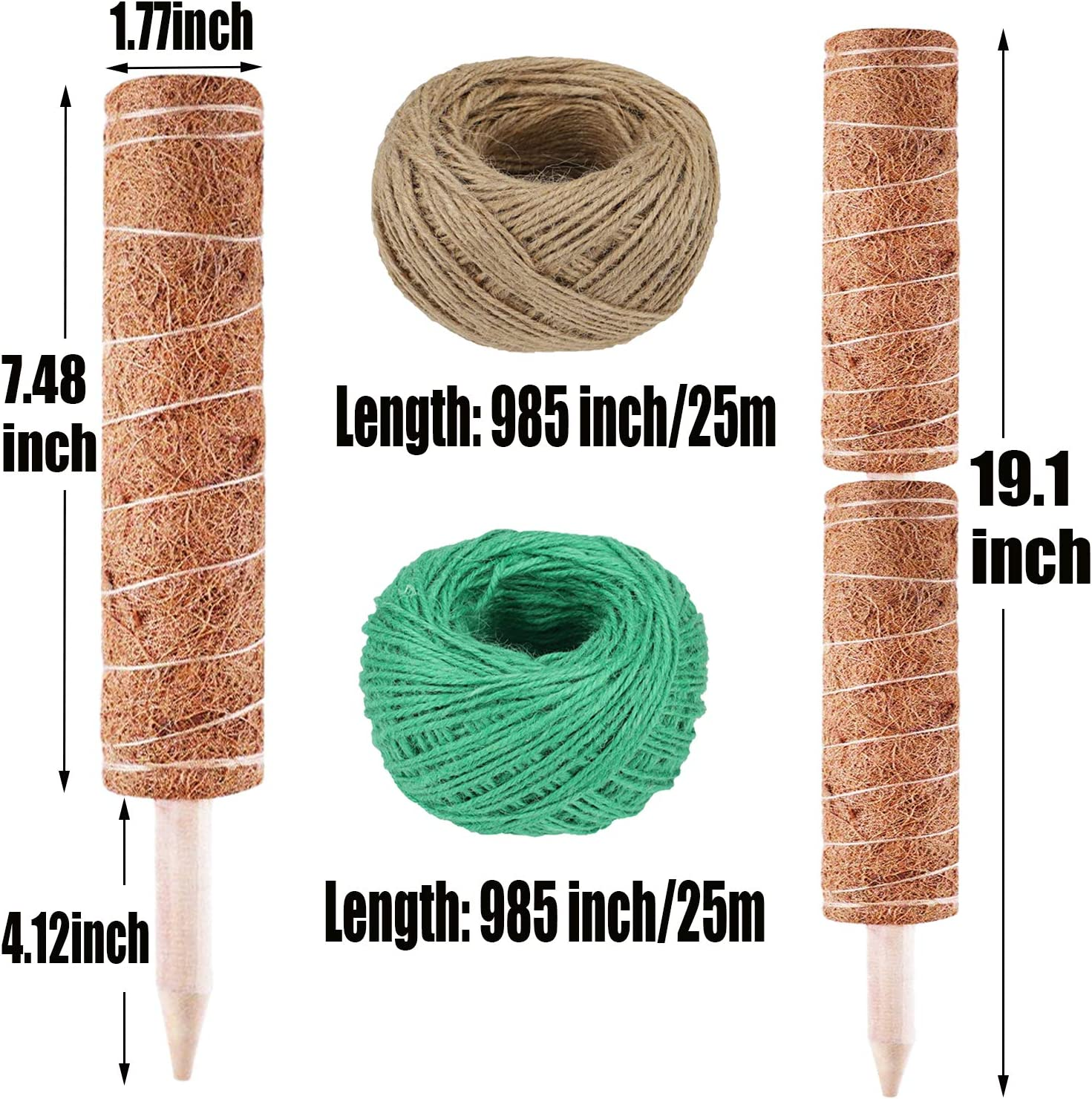 N//F Coir Totem Pole Coir Growing Poles,2 Pcs Plant Support Pole Totem Pole with 2 Pcs 984 Inches Garden Twine for Plant Support Extension Climbing Plants Creepers to Grow Upwards