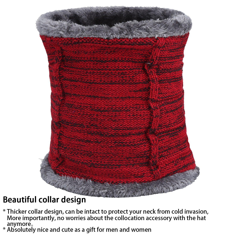Fantastic Zone 2-Pieces Winter Beanie Hat Scarf Set Warm Knit Hat Thick Fleece Lined Winter Hat /& Scarf For Men Women