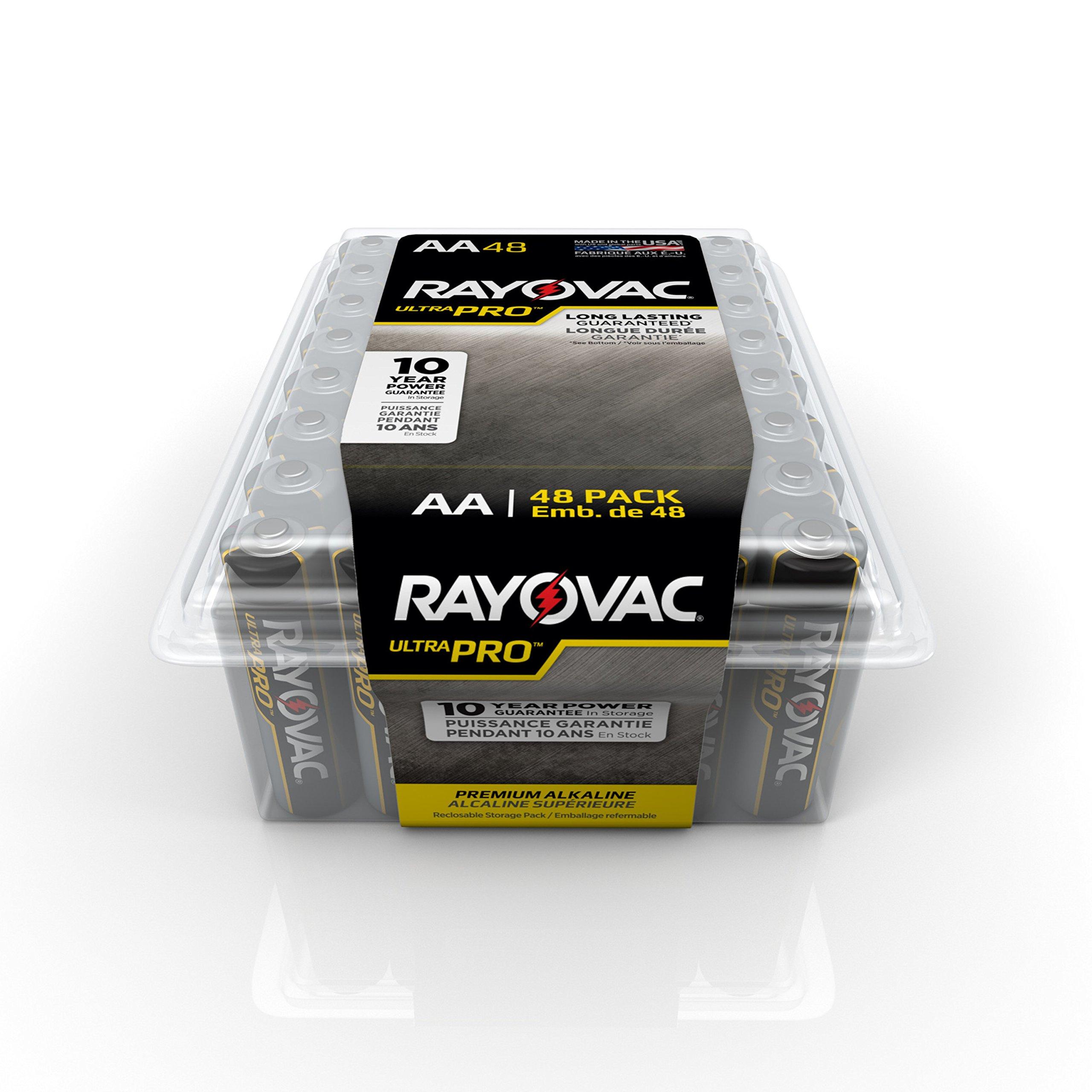 RAYOVAC ALAA-48PPJ Ultra Pro AA Alkaline Batteries, 48-Pack