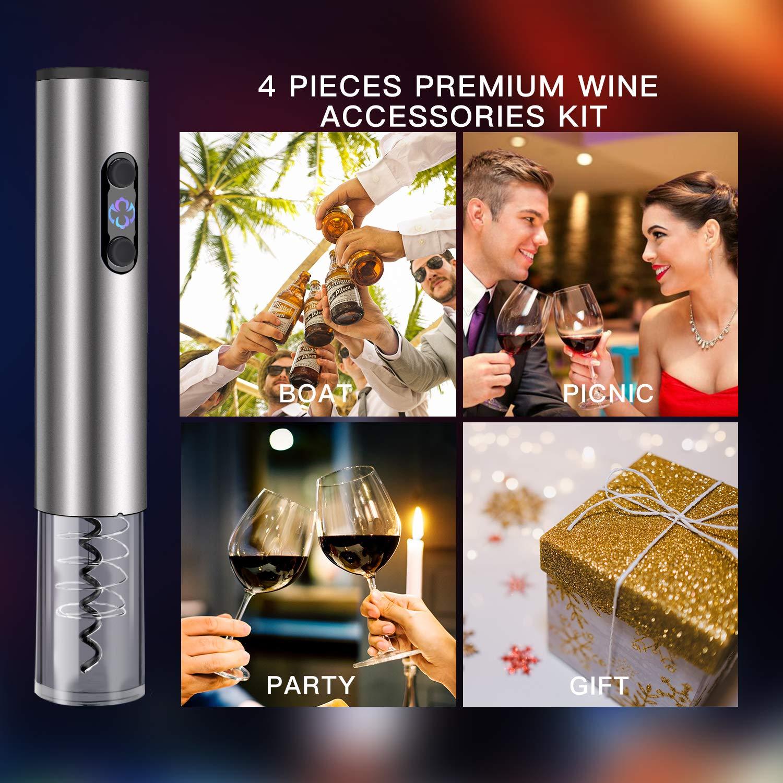 Yunsis Apribottiglie Elettrico Vino Cavatappi Professionali Con Tagliacapsule,Versatore,Tappo del vino,Il regalo ideale per tutti gli amanti del vino e dell\'enologia