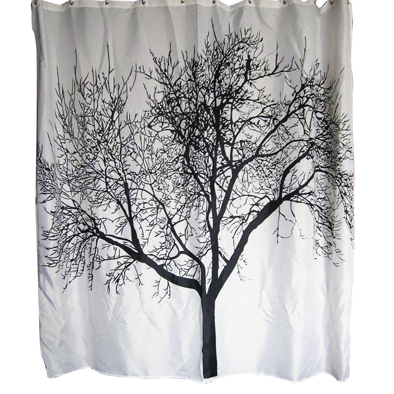 Amazon.com: Jessie&Letty Waterproof Shower Curtain With Black Tree ...