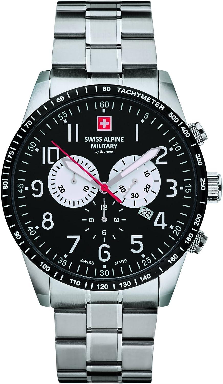 Swiss Alpine Military by Grovana – Reloj cronógrafo para hombre 10 ATM con correa de acero inoxidable