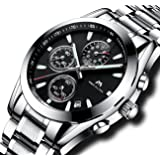 Mens Chronograph Stainless Steel Watches Men Sports 30M Waterproof Luxury Design Date Calendar Wrist Watch Gents Business Casual Multifunction Analogue Quartz Watch with Black Dial Silver Band