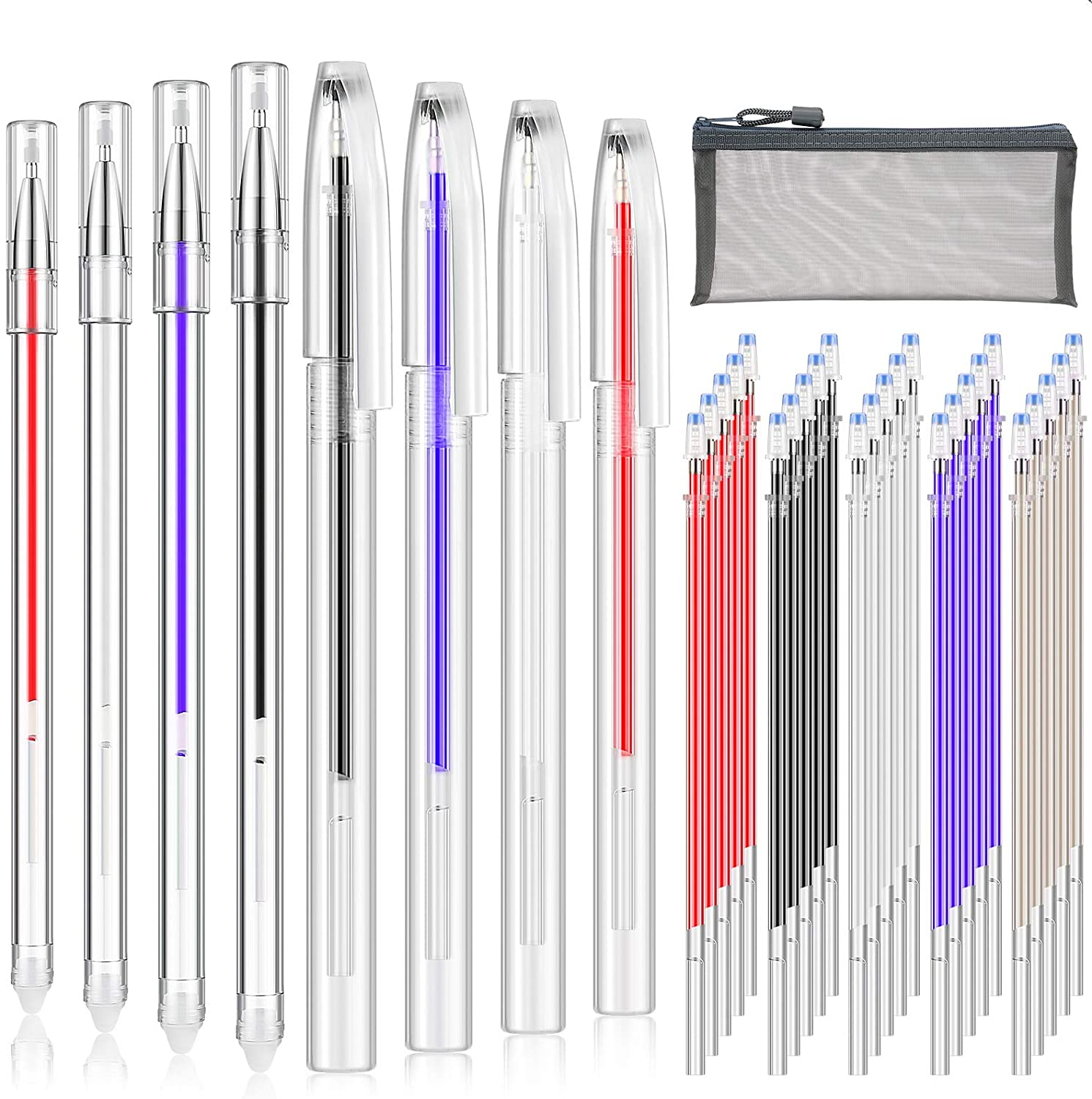 36 Pieces Heat Erasable Pens Set Includes 10 Pieces Heat Erasable Fabric Marking Pens Heat Erase Pens with 25 Pieces Refills and Pen Storage Bag for Quilting Sewing and Dressmaking : Office Products